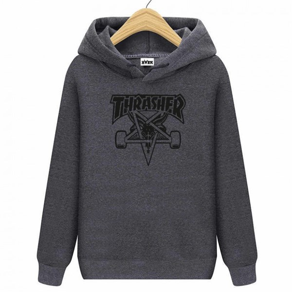 HORN SKATEBOARDS THRASHER SWEATSHIRT ANTHRACITE