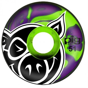 Pig Head Swirls Green Pruple Tekerlek Seti 51 mm
