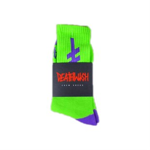 DEATHWISH SKATEBOARDS GANG LOGO GREEN PURPLE ÇORAP